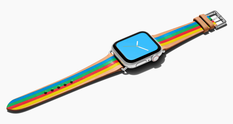 Strap for the Apple Watch handmade of natural vegetable tanned leather with four hand-painted stripes in blue, green, red, yellow in women's length which measure: 105mm and 65mm. Hardware offered in gold, black, or silver in the small and large size. Price $400 plus shipping. Please reach out with any questions.