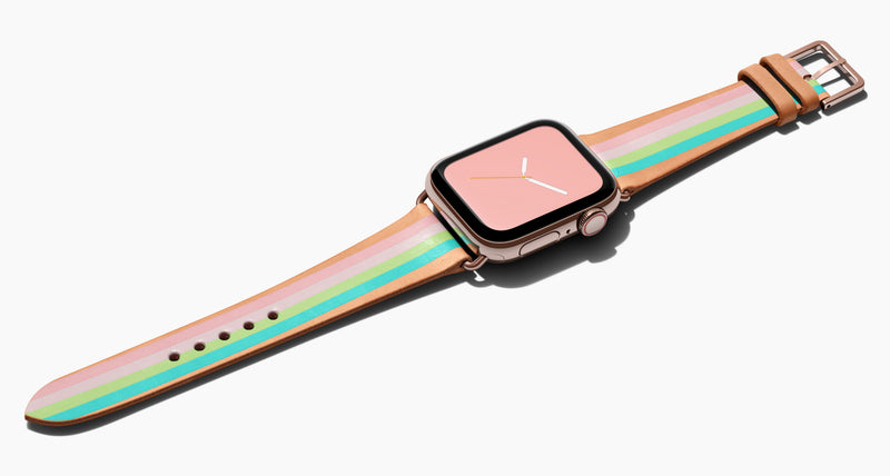 Strap for the Apple Watch handmade of natural vegetable tanned leather with four hand-painted stripes in petal pink, shell pink, light lime green, aqua in women's length which measures: 105mm and 65mm. Hardware offered in gold, black, or silver in the small and large size. Price $400 plus shipping. Please reach out with any questions.