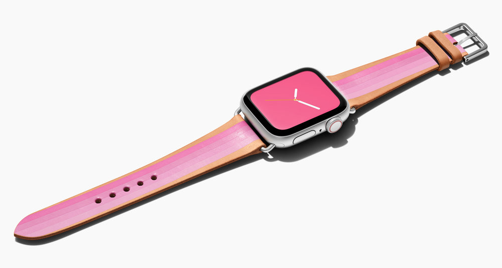 Strap for the Apple Watch handmade of natural vegetable tanned leather with four hand-painted stripes in ombré from hot pink to light pink in women's length which measures: 105mm and 65mm. Hardware offered in gold, black, or silver in the small and large size. Price $400 plus shipping. Please reach out with any questions.