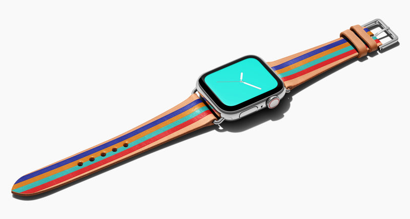 Strap for the Apple Watch handmade of natural vegetable tanned leather with four hand-painted stripes in royal blue, mustard, aqua, red in men's length which measures: 105mm and 75mm. Hardware offered in gold, black, or silver in the small and large size. Price $400 plus shipping. Please reach out with any questions.