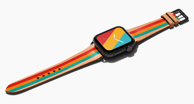 Strap for the Apple Watch handmade of natural vegetable tanned leather with three hand-painted stripes in red orange and aqua in men's length which measures: 105mm / 75mm. Hardware offered in gold, black, or silver in the small and large size. Price $400 plus shipping. Please reach out with any questions.