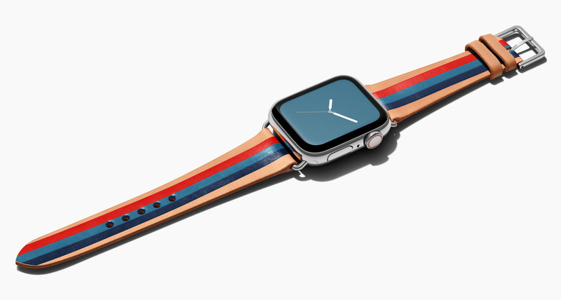 Strap for the Apple Watch handmade of natural vegetable tanned leather with three hand-painted stripes in red steel blue and navy in men's length which measures: 105mm / 75mm. Hardware offered in gold, black, or silver in the small and large size. Price $400 plus shipping. Please reach out with any questions.