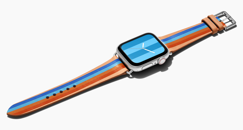 Strap for the Apple Watch handmade of natural vegetable tanned leather with four hand-painted stripes in bright blue, light blue, caramel, and orange  in men's length which measures: 105mm and 75mm. Hardware offered in gold, black, or silver in the small and large size. Price $400 plus shipping. Please reach out with any questions.