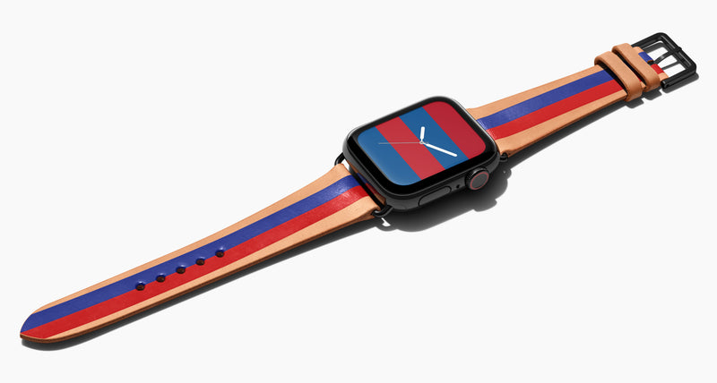 Strap for the Apple Watch handmade of natural vegetable tanned leather with two hand-painted stripes in blue and red in men's length which measures: 105mm / 75mm.  Hardware offered in gold, black, or silver in the small and large size. Price $400 plus shipping. Please reach out with any questions.