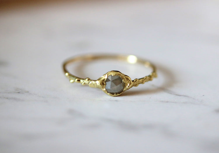 thin gold stacking ring with diamond