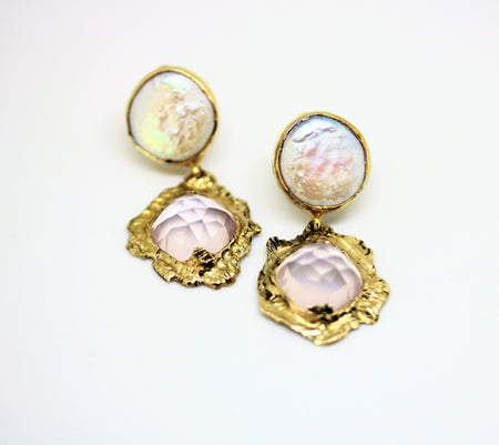 rose quartz pearl earrings