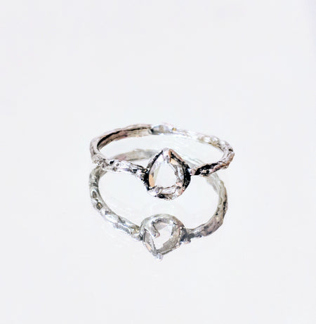 SAMPLE SALE: Sliced Moissanite Diamond Silver Ring