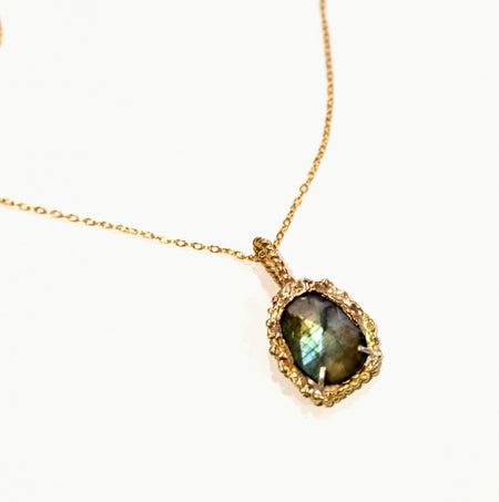 Rainbow Labradorite Gold Pendant Necklace