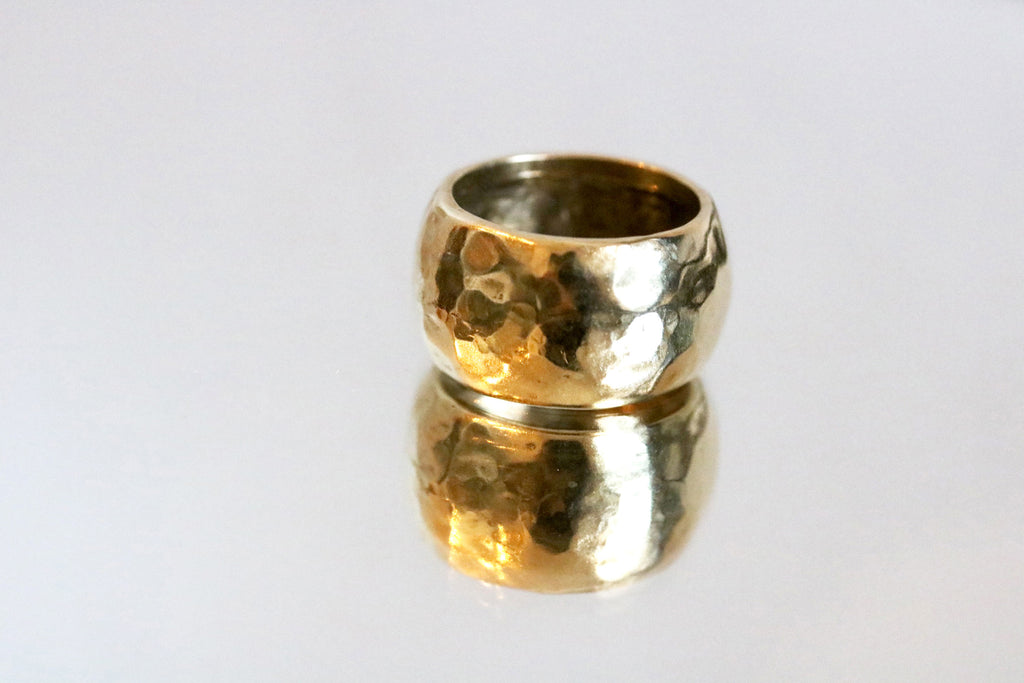 Double Hammering Textured Ring