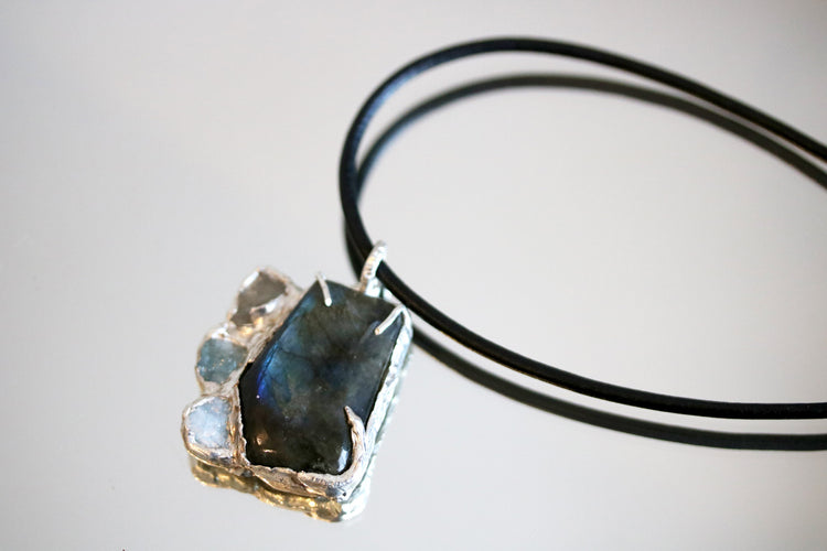 Aquamarine Labradorite Starry Nightview Long Pendant-SALE