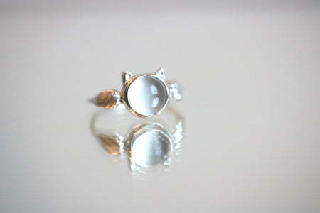 White Moonstone Neko Ring