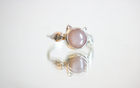 Peach Moonstone Neko Ring