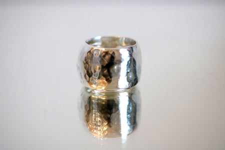 Hammering Textured Wide Ring