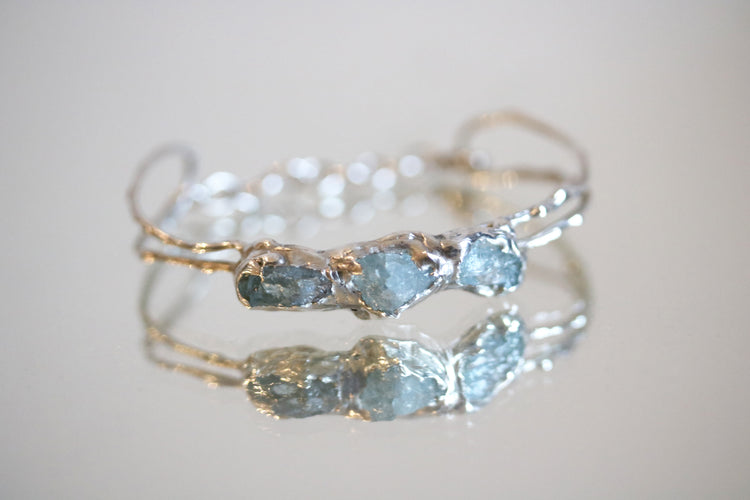 raw aquamarine bracelet