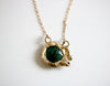 Emerald and Raw Diamond Yellow Gold Necklace