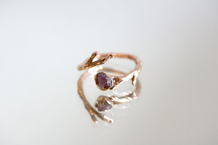 Rough Cut Ruby Gold Twig Ring