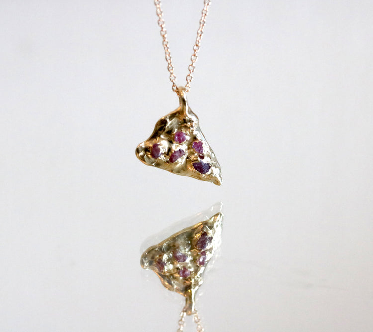 Rough Ruby Gold Pizza Pendant Necklace-SALE