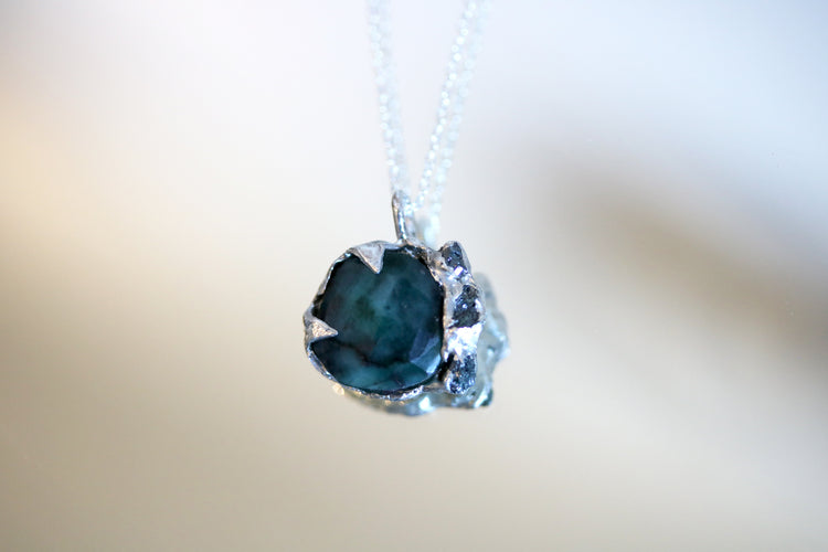 Emerald and Raw Diamond Silver Pendant Necklace