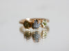 Three Raw Diamond Gold Ring