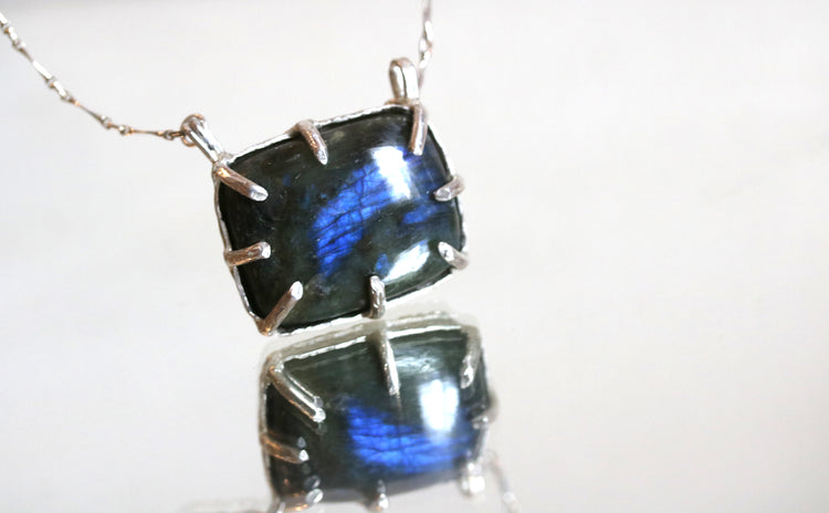 Labradorite Midnight Silver Necklace-SALE