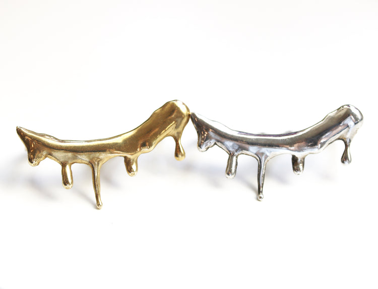 melted metal double finger rings