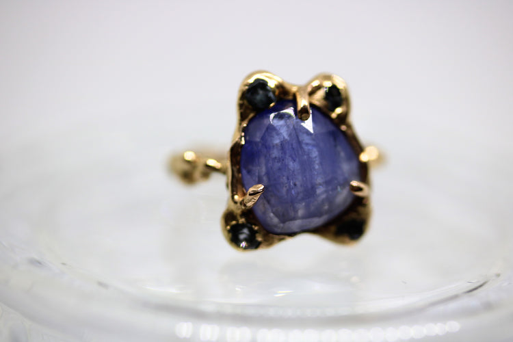 tanzanite pink gold ring