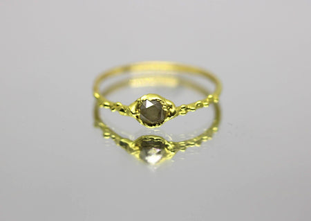 rose cut gray diamond ring