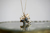 Raw Diamond Sunburst Gold Pendant Necklace