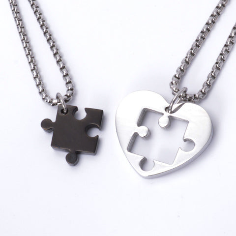 Couple Puzzle Heart Love Necklace