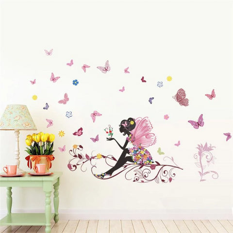 Image of Butterfly Girl Art Wall Sticker For Girls Room Decoration