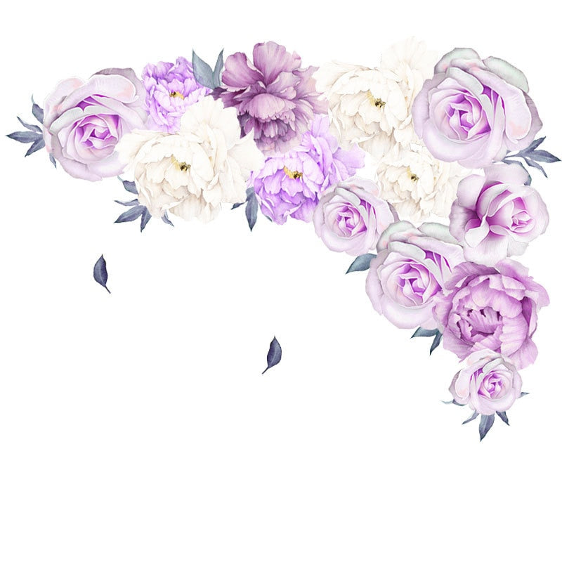 Beautiful Violet Purple Flowers Wall Stickers