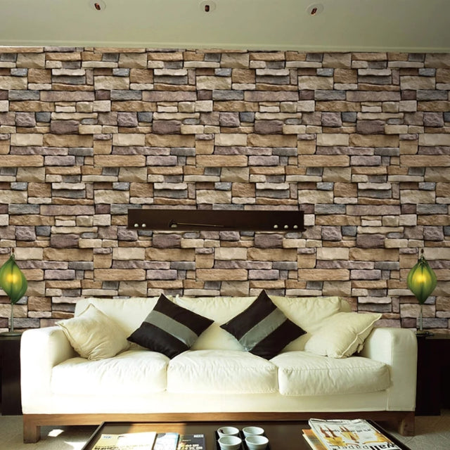 Waterproof 3D Stone Wall Sticker Home Decor Wall Living Room,Bedroom, Bathroom & Kitchen