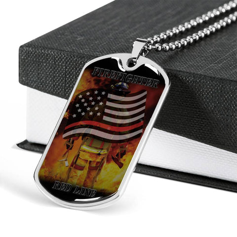 Red Line Firefighter Dog Tags