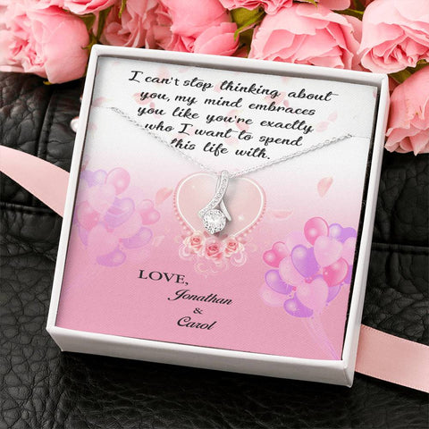 Beautiful Necklace For Her - Personalized Names Message Card