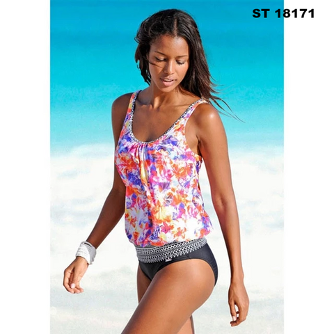 Image of Women Push Up Padded Sporty Tankini Bathing Suit