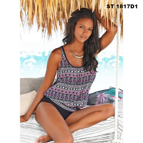 Women Push Up Padded Sporty Tankini Bathing Suit