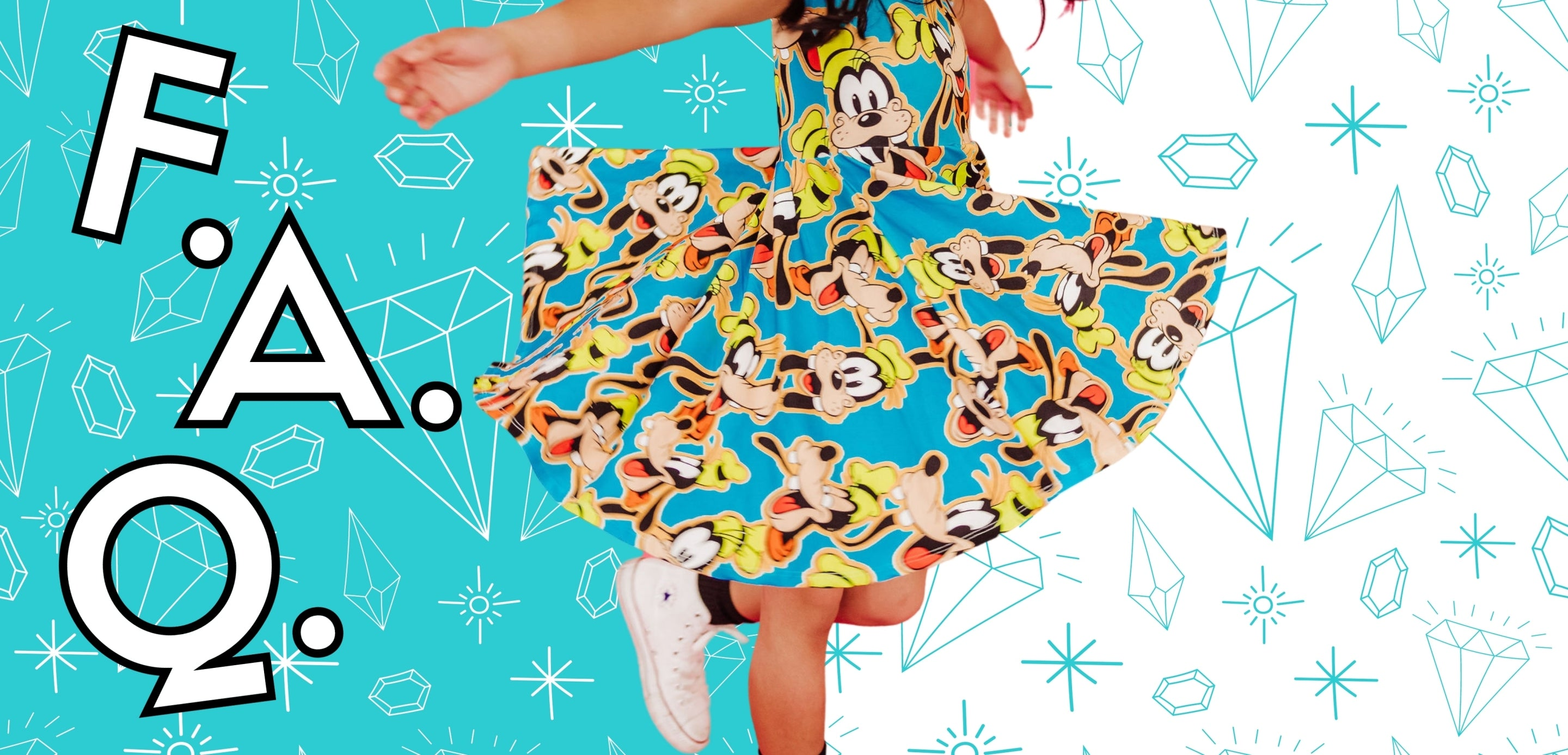 """Girl twirling in blue dress. Background is half blue, half white with diamonds and stars. Letters """"F."""",""""A."""",""""Q."""" are scattered across."""