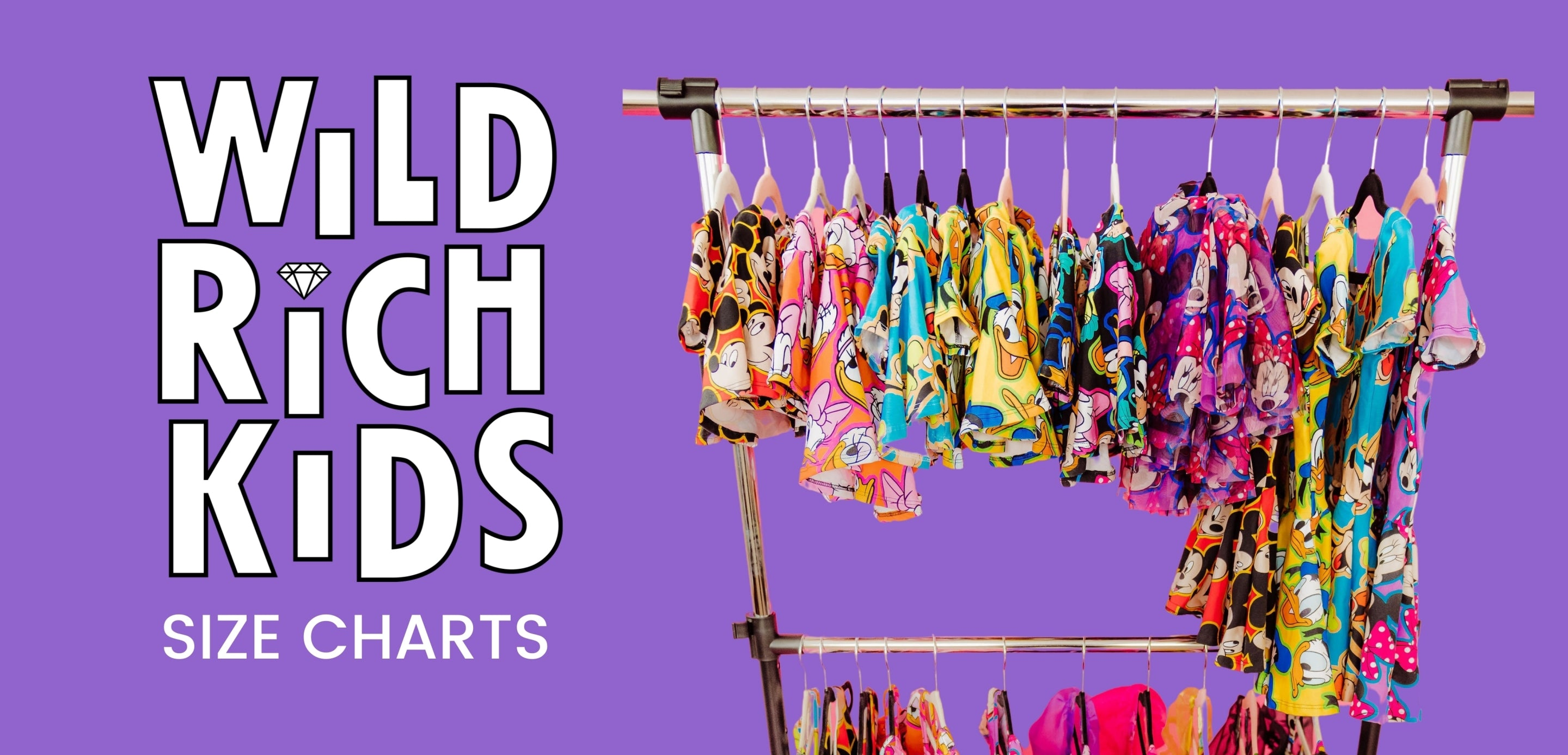 """Purple background. Wild Rich Kids logo on the left with text below that reads, """"Size Charts"""". Right side is an image of a clothing rack with clothing hanging."""