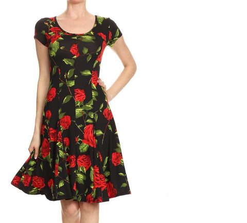 Red Rose Black Dress