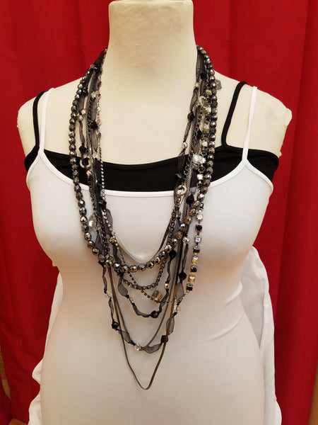 Rebecca Ray Long Black Layer Necklace