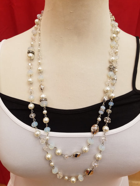 Fashion Creation Opal Pearl Double Necklace