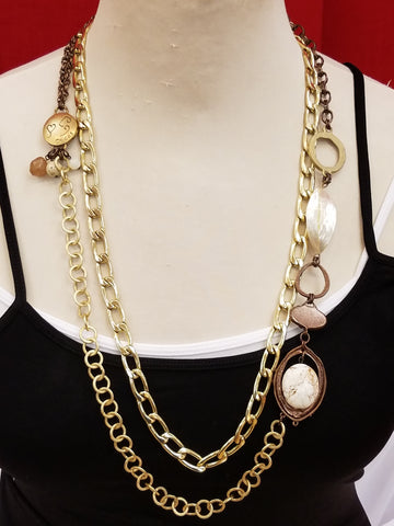 Gold Chain Stone Necklace