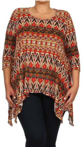 Printed Asymmetric Top PLus Size