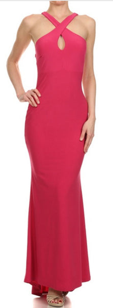 Avital Keyhole Neck Maxi Dress