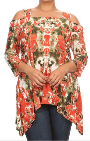 Printed Asymmetric Cold Shoulder Top