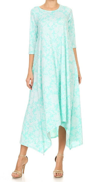 Printed Avital Solid Maxi Dress