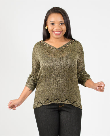 Etc. Gold Shimmer Sweater Top