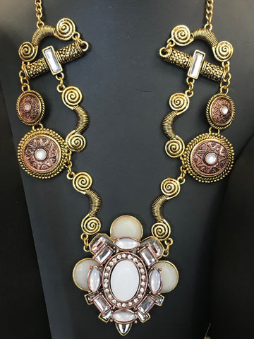 AGAN Gold Rhinestone Medallion Necklace