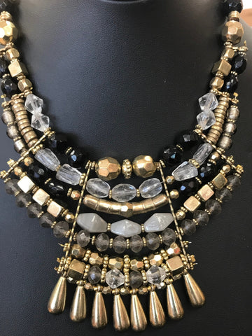 Juliette Gold/Black bead and Stone Necklace