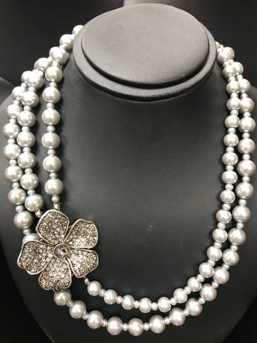 Amanda Rhinestone Flower & Grey Pearls